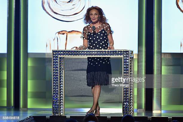 Designer Diane von Furstenberg speaks on stage announcing the winner of the CDFA Fashion Icon Award at the 2016 CFDA Fashion Awards at the...