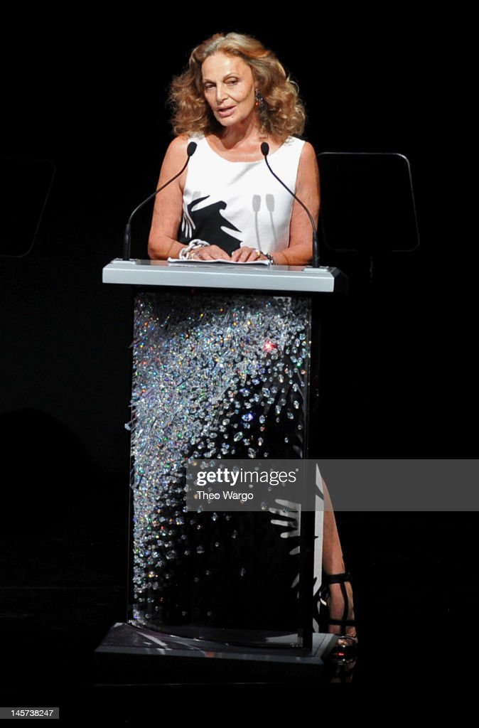 Designer Diane von Furstenberg speaks on stage at the 2012 CFDA Fashion Awards at Alice Tully Hall on June 4, 2012 in New York City.
