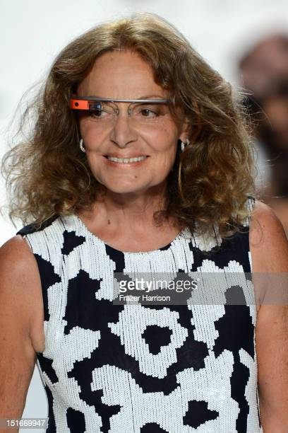 Designer Diane Von Furstenberg walks the runway at the Diane Von Furstenberg Spring 2013 fashion show during MercedesBenz Fashion Week at The Theatre...