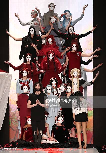 Designer Dima Neu with models on the runway after the DIMANEU show during the MercedesBenz Fashion Week Russia Autumn/Winter 2015/16 at Manege on...