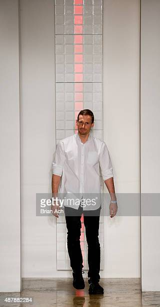 Designer Dion Lee appears on the runway during the Dion Lee Spring 2016 fashion show during MADE Fashion Week at Milk Studios on September 12 2015 in...