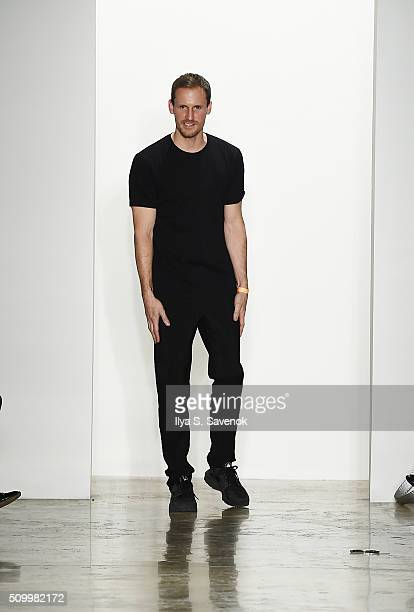 Designer Dion Lee walks the runway at the Dion Lee fashion show during Fall 2016 MADE Fashion Week at Milk Studios on February 13 2016 in New York...