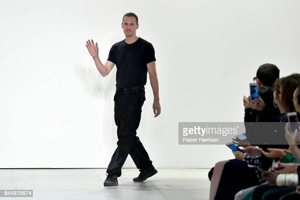 Designer Dion Lee walks the runway at the Dion Lee fashion show during New York Fashion Week The Shows at Gallery 2 Skylight Clarkson Sq on September...