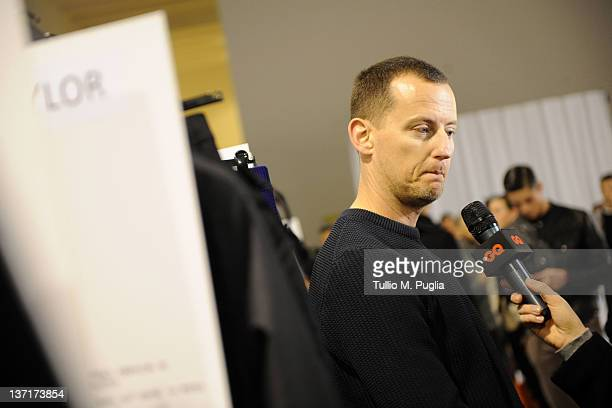 Designer Dirk Bikkembergs attends interview backstage prior to the Dirk Bikkembergs fashion show as part of Milan Fashion Week Menswear Autumn/Winter...