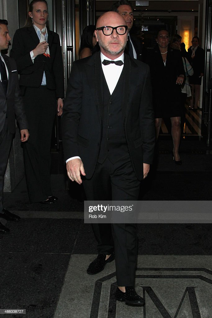 Designer <a gi-track='captionPersonalityLinkClicked' href=/galleries/search?phrase=Domenico+Dolce&family=editorial&specificpeople=534808 ng-click='$event.stopPropagation()'>Domenico Dolce</a> departs the Mark Hotel for the Met Gala at the Metropolitan Museum of Art on May 5, 2014 in New York City.