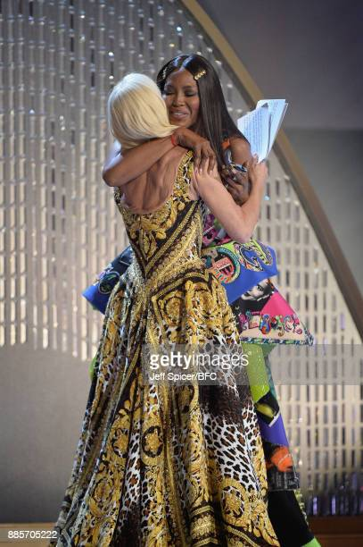 Designer Donatella Versace and model Naomi Campbell are seen at The Fashion Awards 2017 in partnership with Swarovski at Royal Albert Hall on...