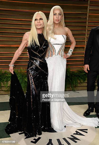 Designer Donatella Versace and Musician Lady Gaga attends the 2014 Vanity Fair Oscar Party hosted by Graydon Carter on March 2 2014 in West Hollywood...