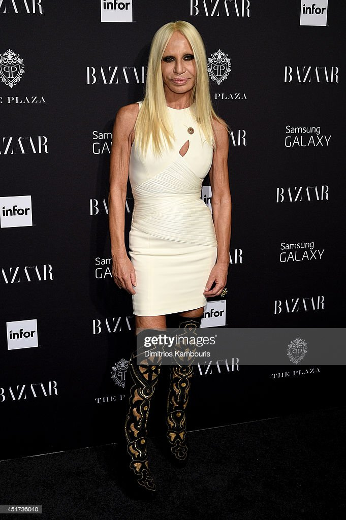 Designer Donatella Versace attends Samsung GALAXY at Harper's BAZAAR celebrates Icons by Carine Roitfeld at The Plaza Hotel on September 5 2014 in...