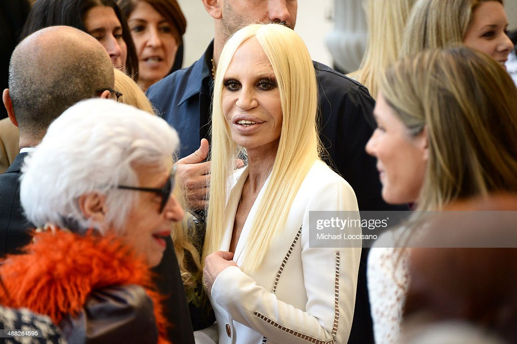 Designer Donatella Versace attends the Anna Wintour Costume Center Grand Opening at the Metropolitan Museum of Art on May 5, 2014 in New York City.