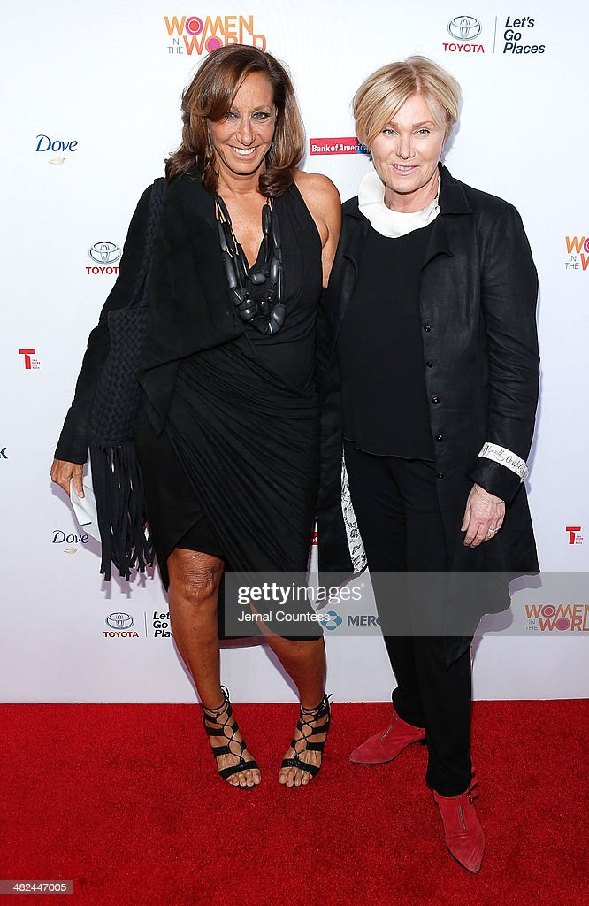 Designer Donna Karan and actress Deborra-Lee Furness attend the 5th Annual Women In The World Summit at the David Koch Theatre at Lincoln Center on April 3, 2014 in New York City.