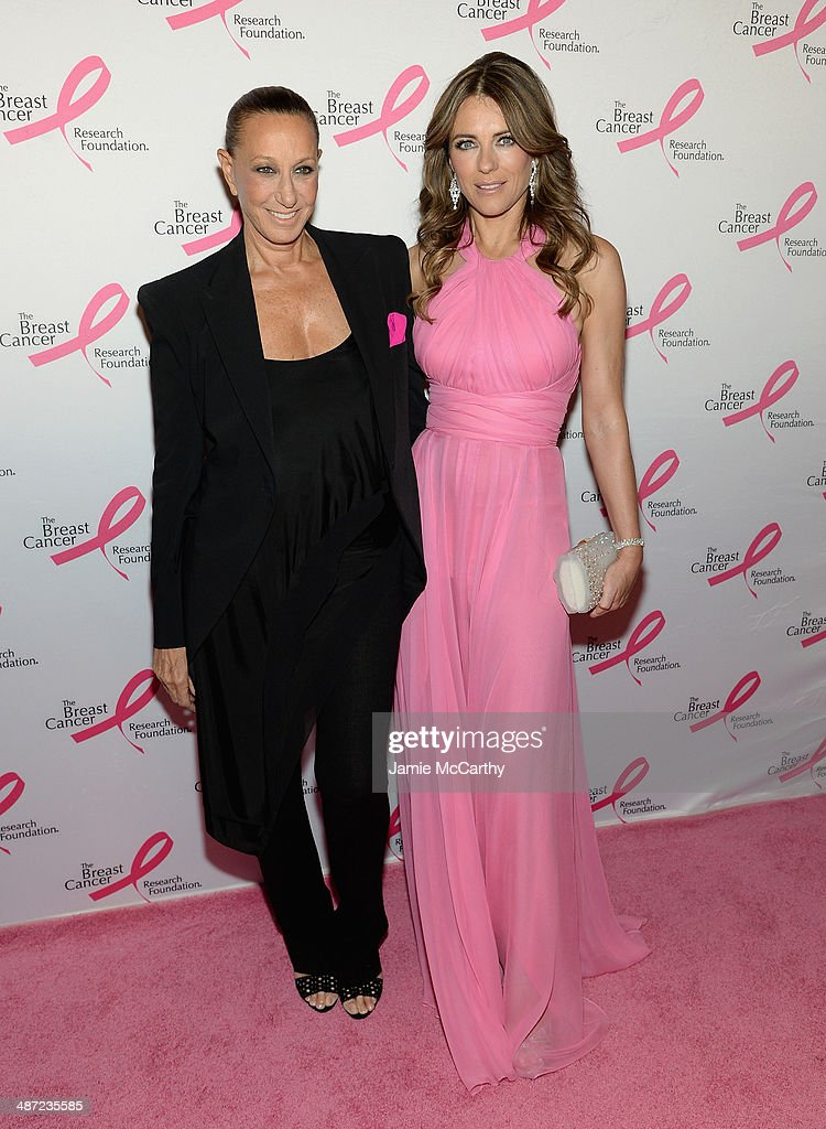 Designer Donna Karan (L) and Elizabeth Hurley attend The Breast Cancer Foundation's 2014 Hot Pink Party at Waldorf Astoria Hotel on April 28, 2014 in New York City.