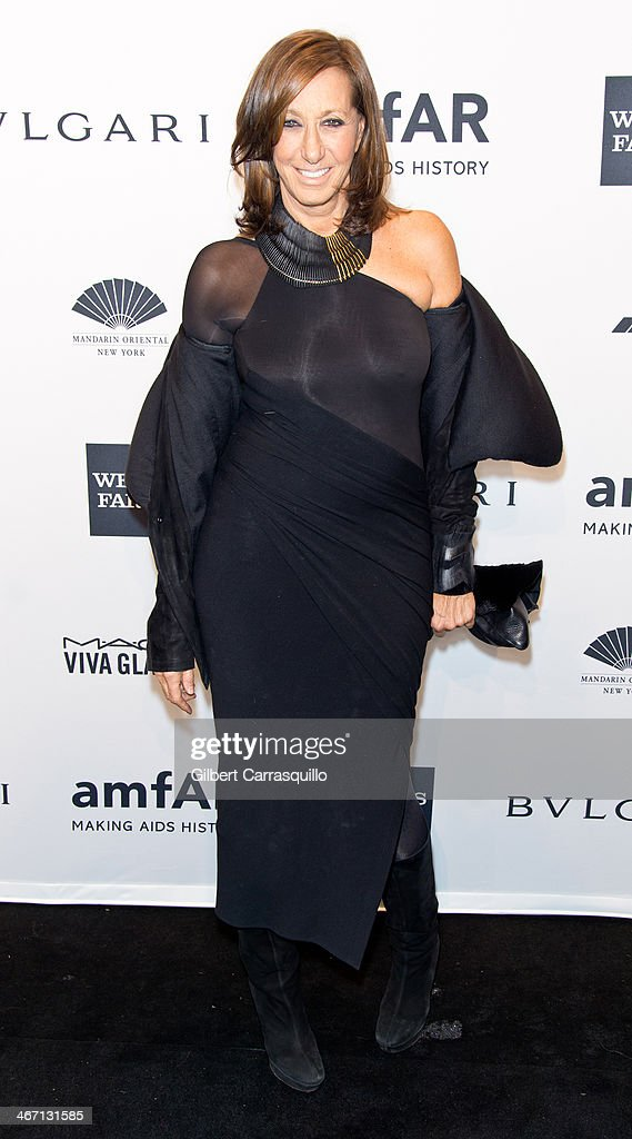 Designer Donna Karan attends the 2014 amfAR New York Gala at Cipriani Wall Street on February 5, 2014 in New York City.
