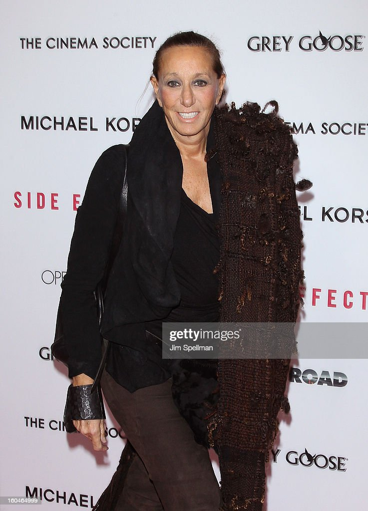 Designer Donna Karan attends the Open Road With The Cinema Society And Michael Kors Host The Premiere Of 'Side Effects' at AMC Lincoln Square Theater on January 31, 2013 in New York City.