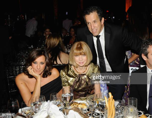 Designer Donna Karan Editorinchief of American Vogue Anna Wintour and designer Kenneth Cole attend the amfAR New York Gala at Cipriani on 42nd Street...