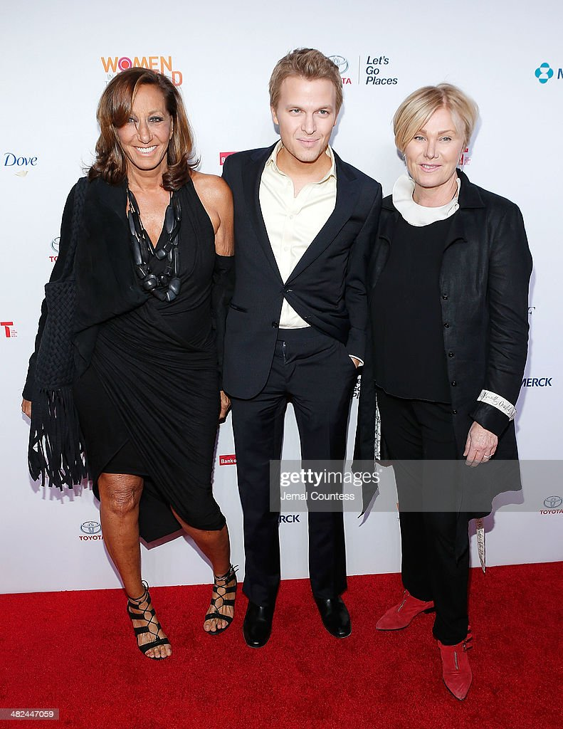 Designer Donna Karan, journalist and activist Ronan Farrow and actress Deborra-Lee Furness attend the 5th Annual Women In The World Summit at the David Koch Theatre at Lincoln Center on April 3, 2014 in New York City.