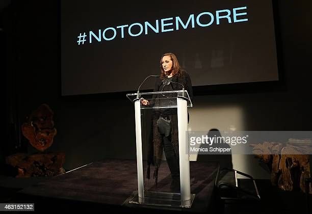 Designer Donna Karan speaks at the 'Not One More' Event at Urban Zen on February 10 2015 in New York City