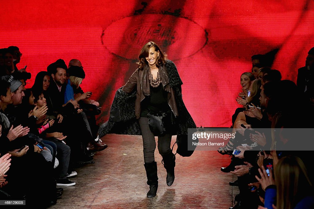 Designer <a gi-track='captionPersonalityLinkClicked' href=/galleries/search?phrase=Donna+Karan+-+Fashion+Designer&family=editorial&specificpeople=4206478 ng-click='$event.stopPropagation()'>Donna Karan</a> walks the runway at the DKNY Women's fashion show during Mercedes-Benz Fashion Week Fall 2014 on February 9, 2014 in New York City.