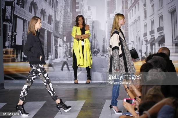 Designer Donna Karan walks the runway at the DKNY Women's Spring 2013 fashion show during MercedesBenz Fashion Week on September 9 2012 in New York...