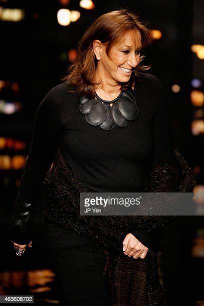 Designer Donna Karan walks the runway at the Donna Karan New York fashion show during MercedesBenz Fashion Week Fall 2015 on February 16 2015 in New...