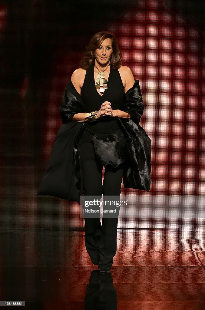 Designer Donna Karan walks the runway at the Donna Karan New York 30th Anniversary fashion show during Mercedes-Benz Fashion Week Fall 2014 on February 10, 2014 in New York City.
