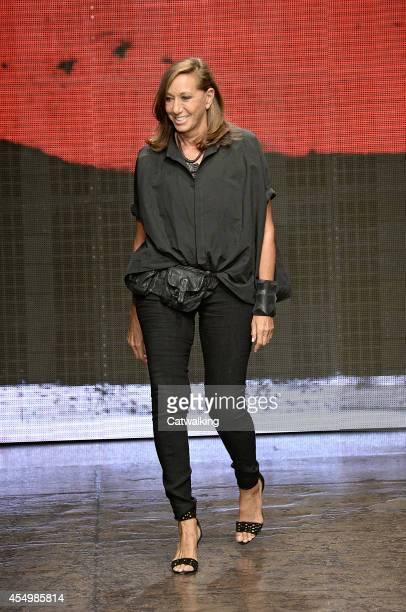 Designer Donna Karan walks the runway at the Donna Karan Spring Summer 2015 fashion show during New York Fashion Week on September 8 2014 in New York...