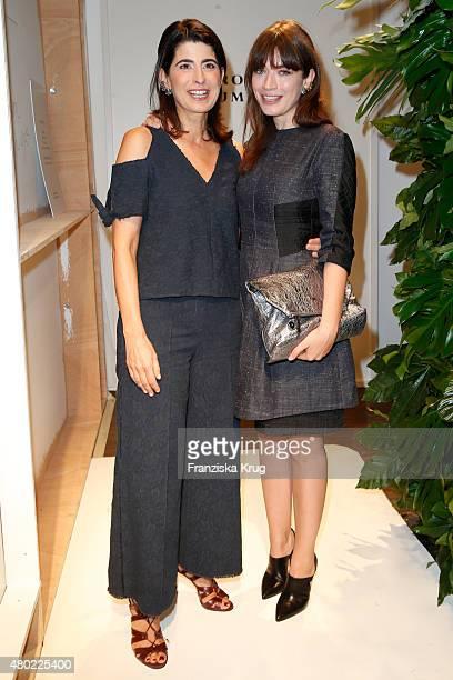Designer Dorothee Schumacher and Anna Bederke are seen ahead of the Dorothee Schumacher show during the MercedesBenz Fashion Week Berlin...