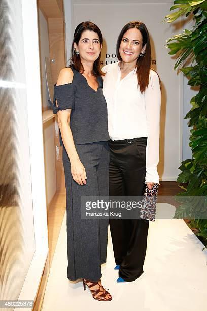 Designer Dorothee Schumacher and Bettina Zimmermann are seen ahead of the Dorothee Schumacher show during the MercedesBenz Fashion Week Berlin...