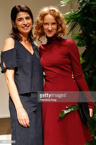Designer Dorothee Schumacher and Chiara Schoras are seen backstage ahead of the Dorothee Schumacher show during the MercedesBenz Fashion Week Berlin...