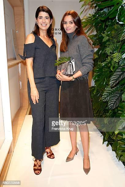 Designer Dorothee Schumacher and Funda Christophersen are seen backstage ahead of the Dorothee Schumacher show during the MercedesBenz Fashion Week...