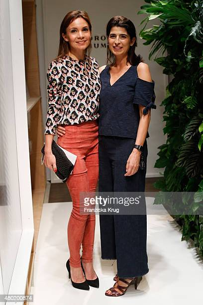Designer Dorothee Schumacher and Mina Tander are seen backstage ahead of the Dorothee Schumacher show during the MercedesBenz Fashion Week Berlin...