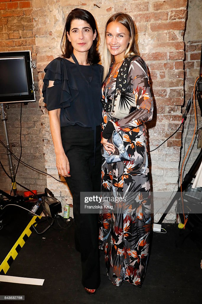 Designer Dorothee Schumacher (L) and Nina Suess attend the Dorothee Schumacher show during the Mercedes-Benz Fashion Week Berlin Spring/Summer 2017 at Elisabethkirche on June 29, 2016 in Berlin, Germany.