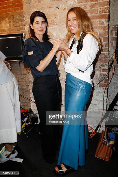 Designer Dorothee Schumacher and Tiany Tiriloff attend the Dorothee Schumacher show during the MercedesBenz Fashion Week Berlin Spring/Summer 2017 at...