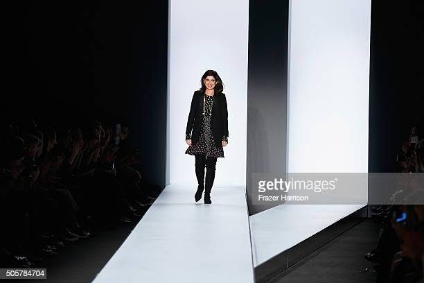 Designer Dorothee Schumacher attends her Dorothee Schumacher in cooperation with Mastercard show during the MercedesBenz Fashion Week Berlin...