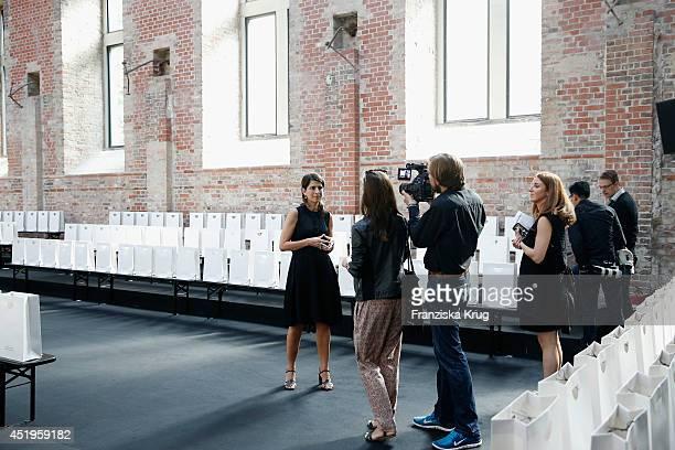 Designer Dorothee Schumacher attends the Schumacher show during the MercedesBenz Fashion Week Spring/Summer 2015 at Sankt Elisabeth Kirche on July 10...