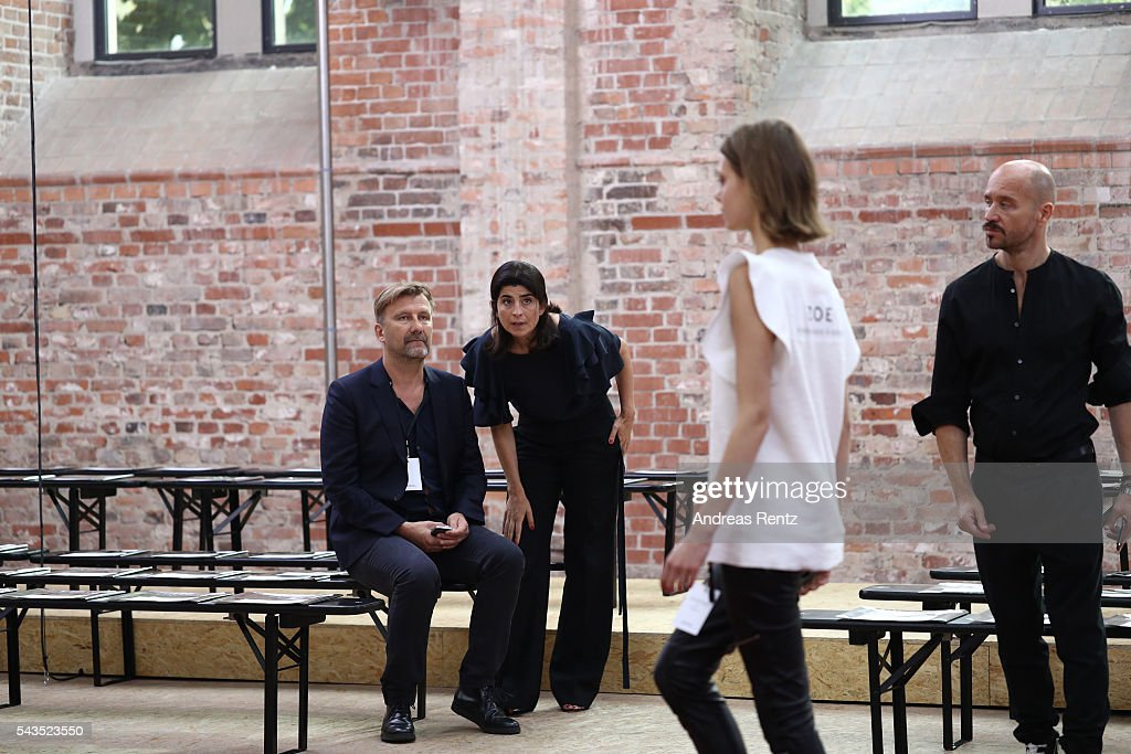 Designer Dorothee Schumacher (2ndL) is seen with members of her team ahead of her show during the Mercedes-Benz Fashion Week Berlin Spring/Summer 2017 at Elisabethkirche on June 29, 2016 in Berlin, Germany.