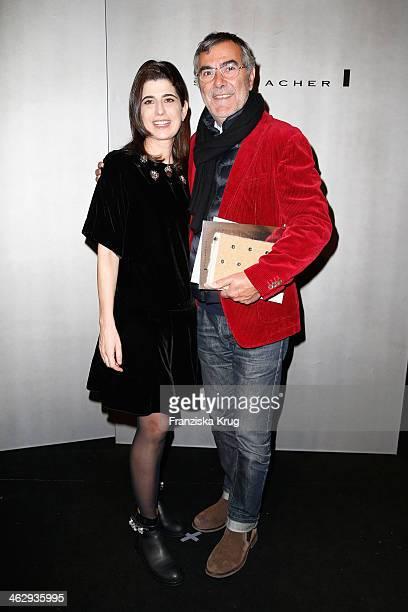 Designer Dorothee Schumacher poses with Norbert Medus backstage after the Schumacher show during MercedesBenz Fashion Week Autumn/Winter 2014/15 at...