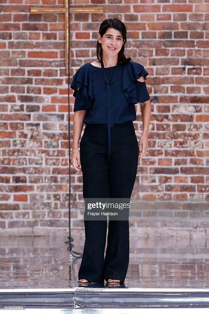 Designer Dorothee Schumacher walks the runway after her show during the Mercedes-Benz Fashion Week Berlin Spring/Summer 2017 at Elisabethkirche on June 29, 2016 in Berlin, Germany.