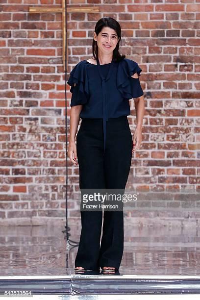 Designer Dorothee Schumacher walks the runway after her show during the MercedesBenz Fashion Week Berlin Spring/Summer 2017 at Elisabethkirche on...