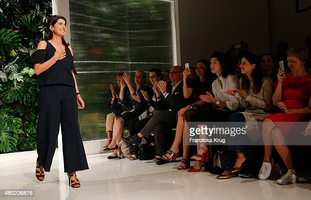 Designer Dorothee Schumacher walks the runway during the Dorothee Schumacher show during the MercedesBenz Fashion Week Berlin Spring/Summer 2016 at...