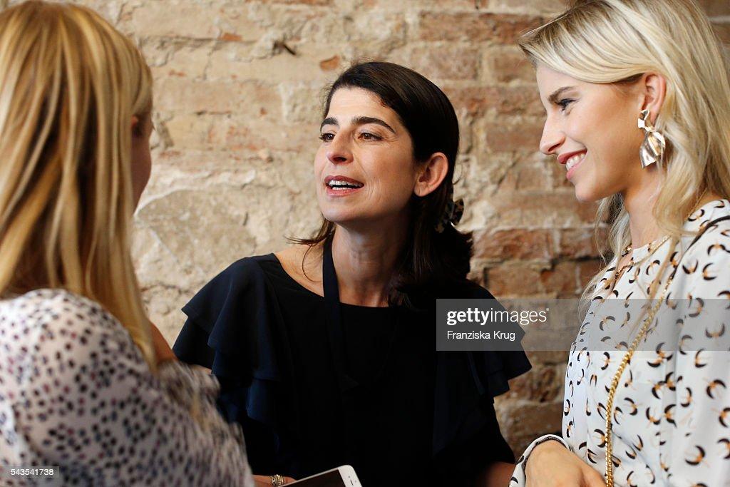 Designer Dorothee Schumacher (C) with fashion blogger Leonie Hanne (L) and Caroline Daur at the Dorothee Schumacher show during the Mercedes-Benz Fashion Week Berlin Spring/Summer 2017 at Elisabethkirche on June 29, 2016 in Berlin, Germany.