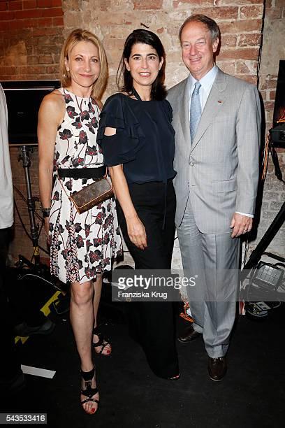 Designer Dorothee Schumacher with John Emerson and Kimberly Emerson at the Dorothee Schumacher show during the MercedesBenz Fashion Week Berlin...