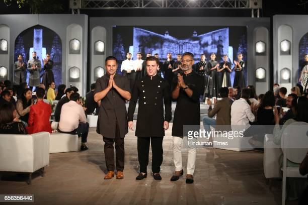 Designer duo Shantanu Nikhil and Airbnb CEO Brian Chesky during a special show curated by designer duo Shantanu Nikhil for the travel platform Airbnb...