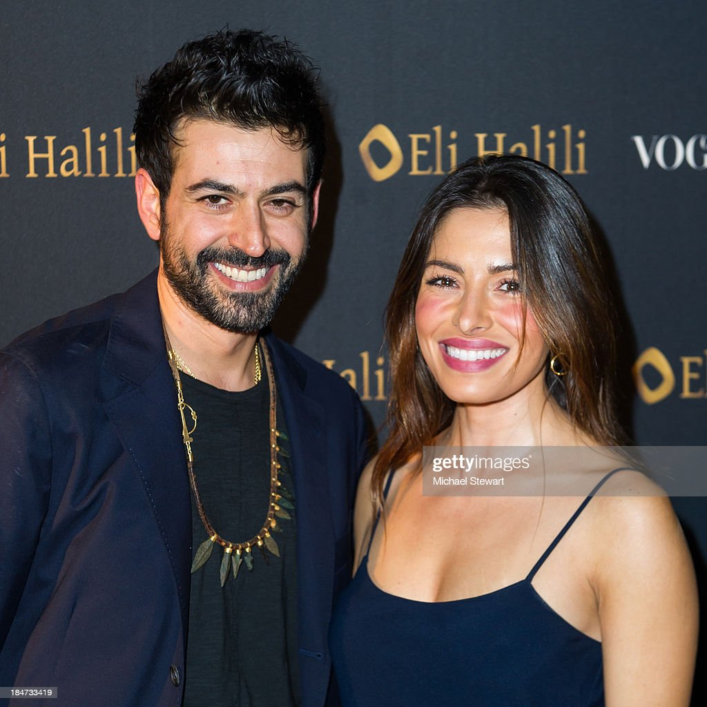 Designer Eli Halili (L) and <a gi-track='captionPersonalityLinkClicked' href=/galleries/search?phrase=Sarah+Shahi&family=editorial&specificpeople=538555 ng-click='$event.stopPropagation()'>Sarah Shahi</a> attend the Eli Halili Soho Boutique Grand Opening with Vogue Gioiello on October 15, 2013 in New York City.