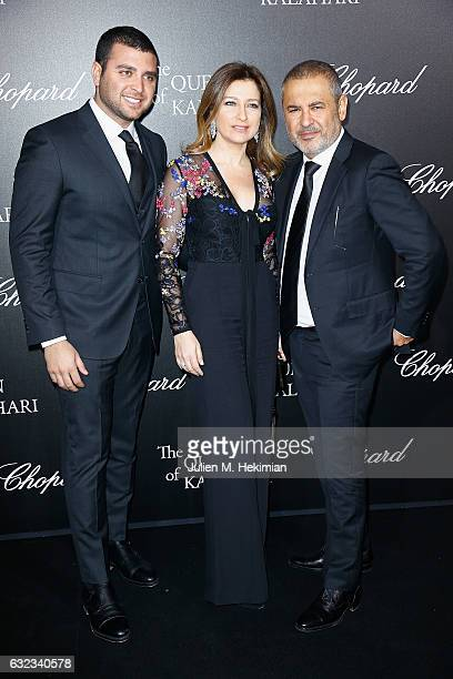 Designer Elie Saab his wife Claudine and his son Elie Saab Junior attend The Garden of Kalahari Movie Presentation at Theatre du Chatelet on January...