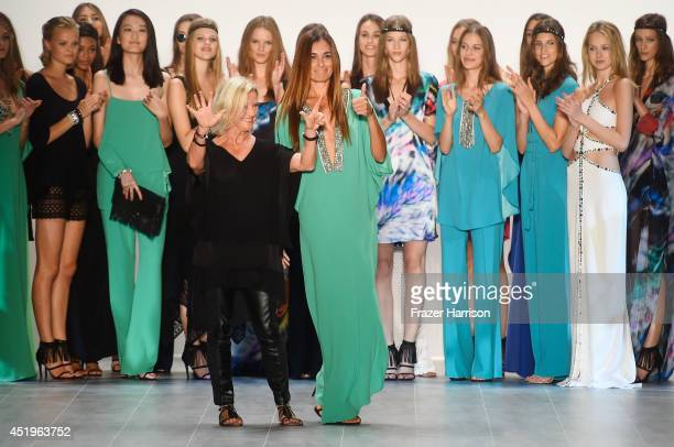 Designer Elisabeth Schwaiger and Jana Ina Zarrella pose with models on the runway at the Laurel show during the MercedesBenz Fashion Week...