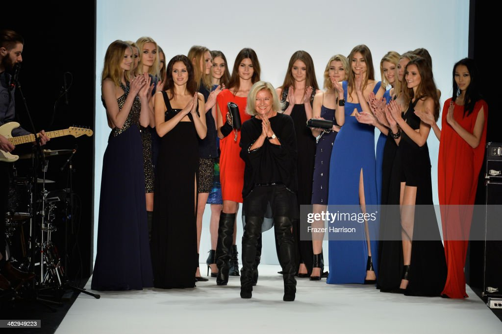 Designer Elisabeth Schwaiger and models pose on the runway after the Laurel show during Mercedes-Benz Fashion Week Autumn/Winter 2014/15 at Brandenburg Gate on January 16, 2014 in Berlin, Germany.