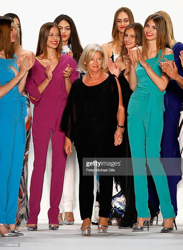 Designer Elisabeth Schwaiger and models walk the runway at the Laurel Show during the Mercedes-Benz Fashion Week Spring/Summer 2014 at Brandenburg Gate on July 4, 2013 in Berlin, Germany.