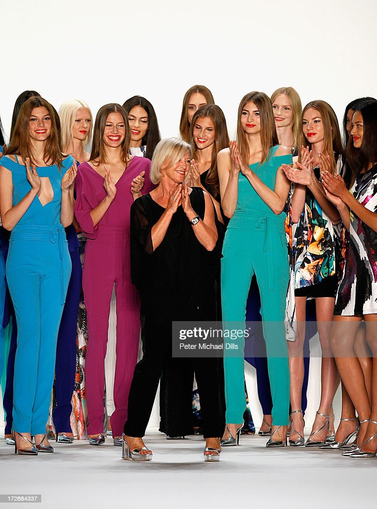 Designer Elisabeth Schwaiger and models walk the runway at the Laurel Show during the Mercedes-Benz Fashion Week Spring/Summer 2014 at Brandenburg Gate on July 4, 2013 in Berlin, Germany.