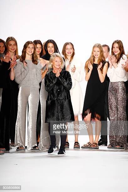 Designer Elisabeth Schwaiger appears with models after her runway at the Laurel show during the MercedesBenz Fashion Week Berlin Autumn/Winter 2016...