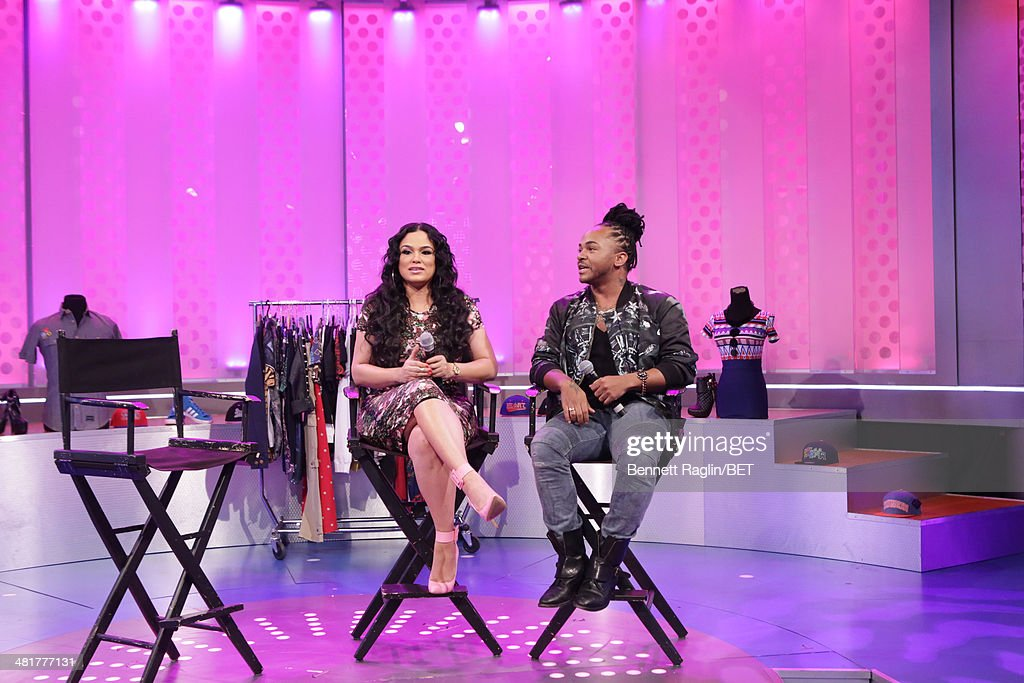 Designer Emily B and hair stylist Q visit 106 & Park at BET studio on March 31, 2014 in New York City.